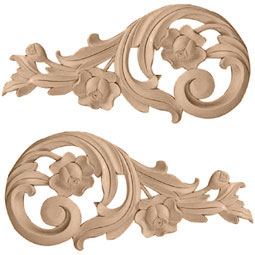 "11 1/2""W x 5 1/2""H x 1""D (Each Side) Large Rose Scrolls (Pair), Alder"
