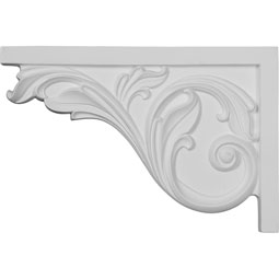 "11 3/4""W x 7 3/4""H x 3/4""D Large Acanthus Stair Bracket, Left"