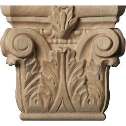 "6 1/4""W x 4 3/8""BW x 2 1/4""D x 5 5/8""H Small Floral Roman Corinthian Capital (Fits Pilasters up to 3 7/8""W x 1""D)"