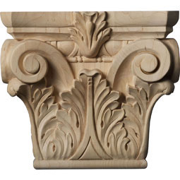 "9 1/2""W x 6""BW x 3 1/4""D x 8 3/8""H Medium Floral Roman Corinthian Capital (Fits Pilasters up to 5 5/8""W x 1 3/8""D)"