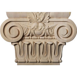 "10 3/4""W x 5 5/8""BW x 2 1/4""D x 7 1/2""H Medium Bradford Roman Ionic Capital (Fits Pilasters up to 5 5/8""W x 1 3/8""D)"
