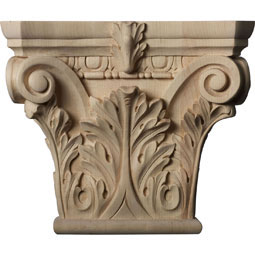 "11 1/2""W x 6 3/4""BW x 3 3/4""D x 9 5/8""H Large Floral Roman Corinthian Capital (Fits Pilasters up to 6 1/4""W x 2""D)"