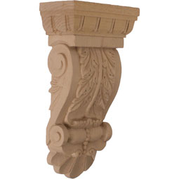 "5 3/4""W x 2 3/4""D x 9 3/4""H Thin Flowing Acanthus Corbel"