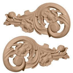 "7 1/2""W x 3 1/2""H x 1/2""D (Each Side) Small Springtime Scrolls (Pair)"
