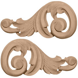 """7 1/8""""W x 3 1/8""""H x 5/8""""D (Each Side) Small Swaying Scrolls (Pair)"""