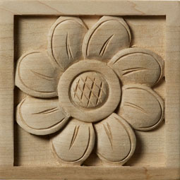 3 1/2&quot;W x 3 1/2&quot;H x 3/4&quot;D Medium Sunflower Rosette