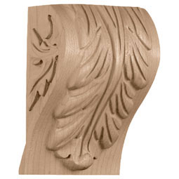 "3 1/4""W x 2 3/4""D x 5""H, Extra Small Block Acanthus Leaf Corbel"