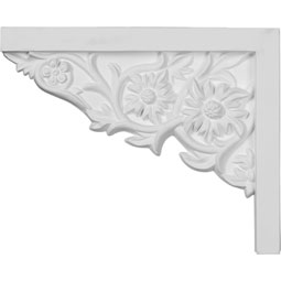 "9""W  x 7 1/4""H x  5/8""P Floral Small Stair Bracket, Left"