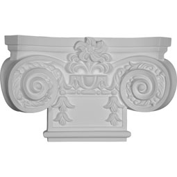 "16 7/8""W x 10 1/4""H Small Empire Capital with Necking (Fits Pilasters up to 7 3/4""W x 3/4""D)"