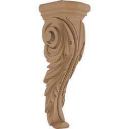 "4""W x 12 1/2""H x 4 1/4""D Corbel Leaf Narrow Medium"