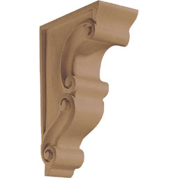 "3""W x 9 1/2""H x 6 1/8""D Corbel Scroll Traditional Narrow Small"