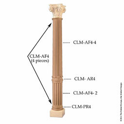 "9 1/4""TW x 9 3/4""BW x 52""H Column Acanthus Fluted Top Piece"