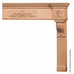 Mantel Acanthus Dentil Base With Combination Molding Top, MLT-ADM,