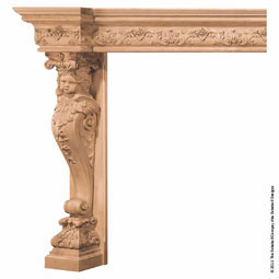 "Mantel Cherub Base with 9"" Molding Top, MLT-CHM,"