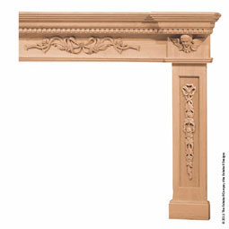 Mantel Cherub Corbels with Ribbon Onlays & Combination Molding Top, MLT-COM,