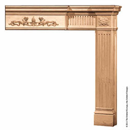 "Mantel Fluted Column with Fluted 5"" Molding & Onlays, MLT-FC0,"