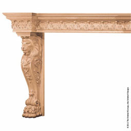 "Mantel Lion Base Large with Back Splat with 9"" Molding, MLT-LLM,"