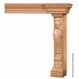 Mantel Lion Base Medium/Back Splat- Combination Molding Top, MLT-LMM,