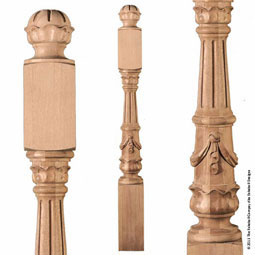 "5""TW x 5 3/8""BW x 51""H Newel Swag Fluted Post Extra Large"