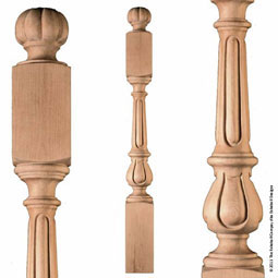 "5 1/2""OW x 51""H Newel Traditional Fluted Extra Large"