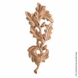 "4 3/4""W x 11""H x 3/4""P Onlay Oak Leaf Medallion Medium"