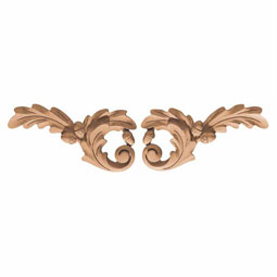"9""W x 4 1/2""H x 3/4""P Onlay Oak Leaf Trim Medium"