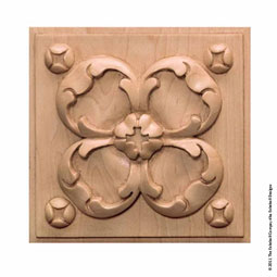 5&quot;H x 5&quot;W Sq x 3/4&quot;T, Azalea Square Rosette