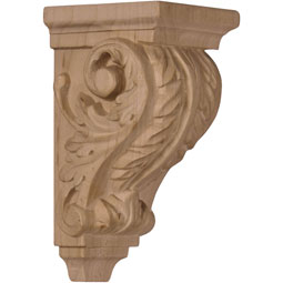 "2 1/4""W x 2 1/4""D x 4 1/4""H Extra Small Acanthus Wood Corbel"