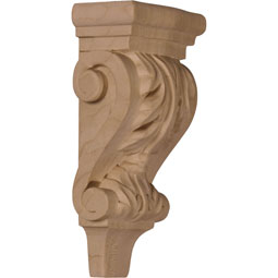 "3""W x 1 3/4""D x 6""H Extra Small Acanthus Pilaster Wood Corbel"