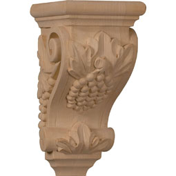 "3 1/2""W x 4""D x 7""H Small Grape Corbel"